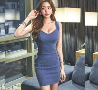 PO : Sizes Available From S To XL. Super Hot And Sexy Korean Style M Cut Front/M Cut Neckline/M Neck/Sweetheart Neckline/Bustier Sleeveless Denim Bodycon/Body Hugging Dress