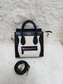 Authentic celine 2tone canvas black and white