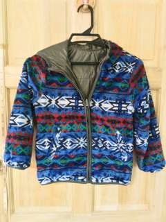 Reversible aztec fur jacket
