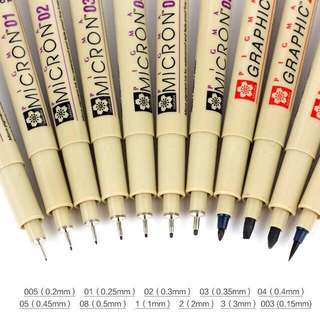 🚚 [Ready Stock] Sakura Pigma Micron in Verious Nib Sizes