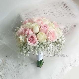 Fresh Pastel Roses hand bouquet (Wedding / ROM/ Bridesmaid / Proposal/ Anniversary/Birthday)