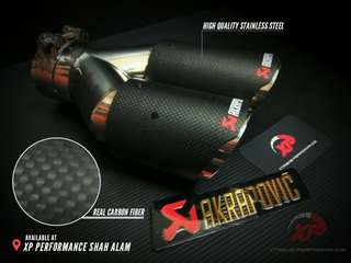 Akrapovic Exhaust Tip 3' dual outlet pure carbon fiber