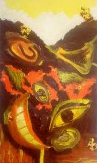 Lukisan abstrak otak kita acrylig kanvas 40 x 70 cm