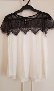 Dorothy Perkins Black and White Lace Shirt