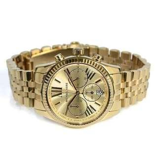 MK Lexington Gold Chronograph women's watch Ladies round gold