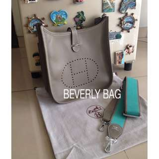 jual tas Hermes Evelyn Limited Strap LEATHER MIRROR - grey