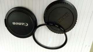 Tutup lensa d/b + filter uv hoya bening ukuran 67mm