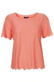 Topshop Scallop Frill tee in Apricot