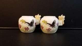 古董鳥食杯1對