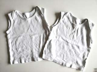 PRELOVED MOTHERCARE Set of 2 Baby White Sleeveless Tank Tops - in average condition