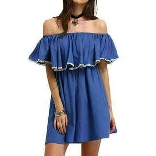 Off shoulder denim dress(fit up to semi large)