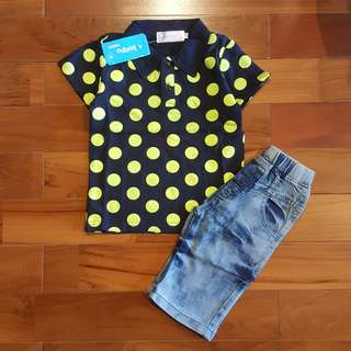 Polkadot green polo top set jeans