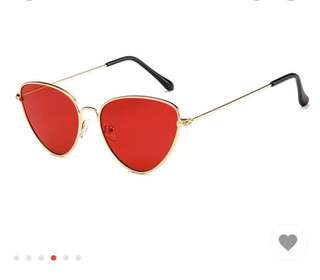FREE WITH ANY PURCHASE Retro red sunglasses tinted