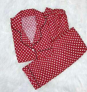 Piyama Baju Tidur Set Motif Polka | 3 Warna Merah, Navy & Hitam Cute Gemassh 😉👸