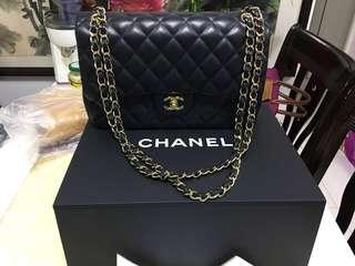CHANEL 經典款 中號黑金 羊皮名貴手袋 有盒有單有型號 100%原廠正貨(不議價
