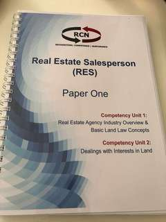 🚚 Real Estate Salesperson RES Paper One textbook
