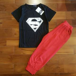 Boyset superman black set pant