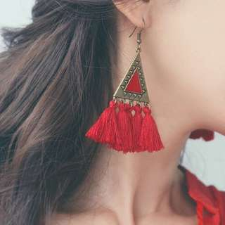 🧡 Bohemian Triangle Tassel Earrings