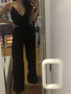 V Neck Black Jumpsuit