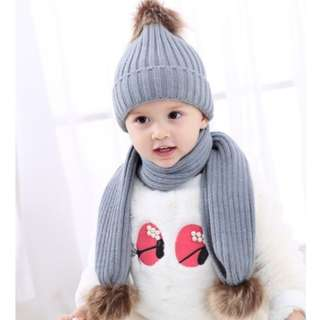 Winter Snow Cap Grey with Scarf