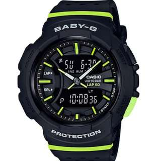 Original Casio Baby-G BGA-240-1A2 Black Green strips for runners