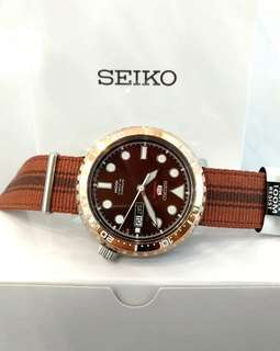 * FREE DELIVERY * Made In Japam Brand New 100% Authentic Seiko 5 Sports Bottle Cap Series Rose Gold Bezel Automatic Mens Casual Watxh on Nato Strap  SRPC68J