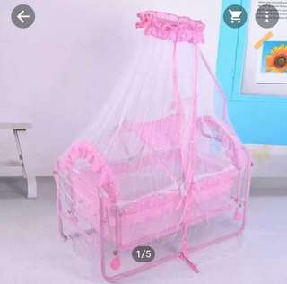 Baby Cradle Rocking Crib Bassinet Bed Sleeper Portable Nursery with Mosquito Net