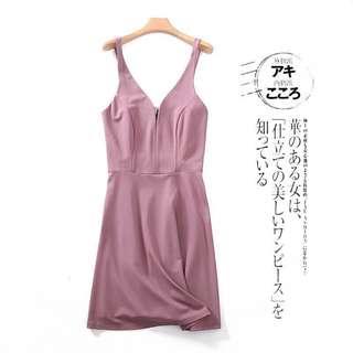 女裝超靚豆沙粉宴會甜美少女學生短款聚會A字裙連身裙Pink plum grad din dress 畢業晚宴party dress