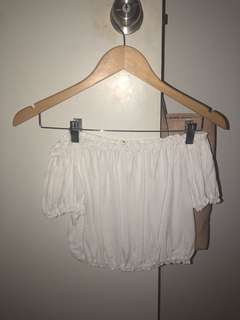 White off the shoulder midriff top