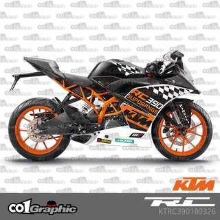 KTM RC390 RC 390 fairings coverset sticker 14 super range wp akrapovic motogp