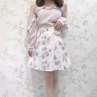 正品 Evelyn 姐妹牌 AnMILLE 粉紅色花柄A字半身裙 花柄パイピングSK