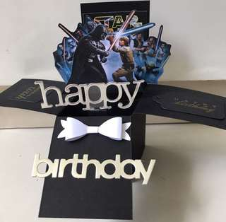 Happy birthday small star wars pop up card