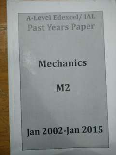 A level edexcel /IAL past yeqr paper mechanics M2