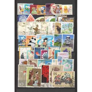 JAPAN LARGE & SMALL COMMEMORATIVE STAMPS 50 DIFFERENT LOT 237 SEE SCAN