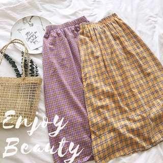 🚚 🌞Enjoy Beauty 🌞復古少女格紋半身裙