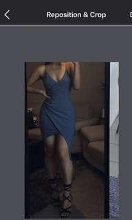 Blue Asymmetric Bodycon Dress