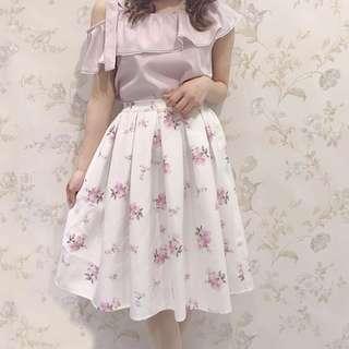 正品 Evelyn 姐妹牌 AnMILLE 粉色花柄半身裙 SK