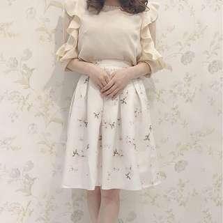 正品 Evelyn 姐妹牌 AnMILLE 淡橘色花柄半身裙 SK