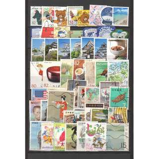 JAPAN LARGE & SMALL COMMEMORATIVE STAMPS 50 DIFFERENT LOT 242 SEE SCAN