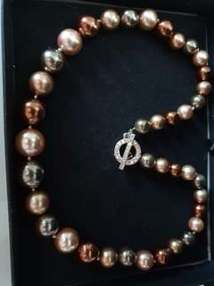 South Sea Tahitian Color Shell Pearl Necklace Handmade