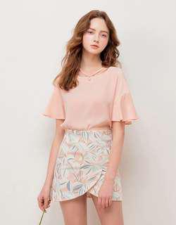 korean pink blouse pearl