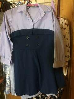 🚚 氣質藍條洋裝