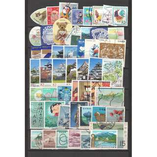 JAPAN LARGE & SMALL COMMEMORATIVE STAMPS 50 DIFFERENT LOT 245 SEE SCAN