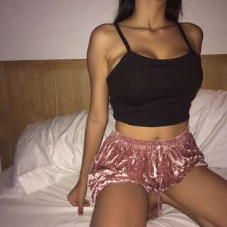 Black Cami Top and Pink Velvet Shorts