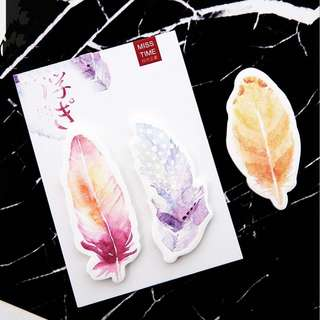🌟BN INSTOCKS Beautiful Gradient Color Feather Post-Its Sticky Memo Pad
