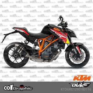 KTM super duke racing coverset fairings sticker US colours red blue akrapovic