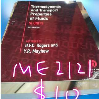 ME2121 Engineering Thermodynamics  Steam Table + Textbook(NUS)