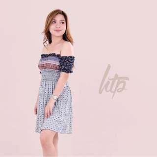 HTP Combi Off Shoulder Smocking Dress