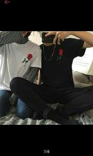 🚚 刺繡玫瑰黑色短踢