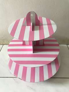 Cupcakes Stand - Pink Stripes